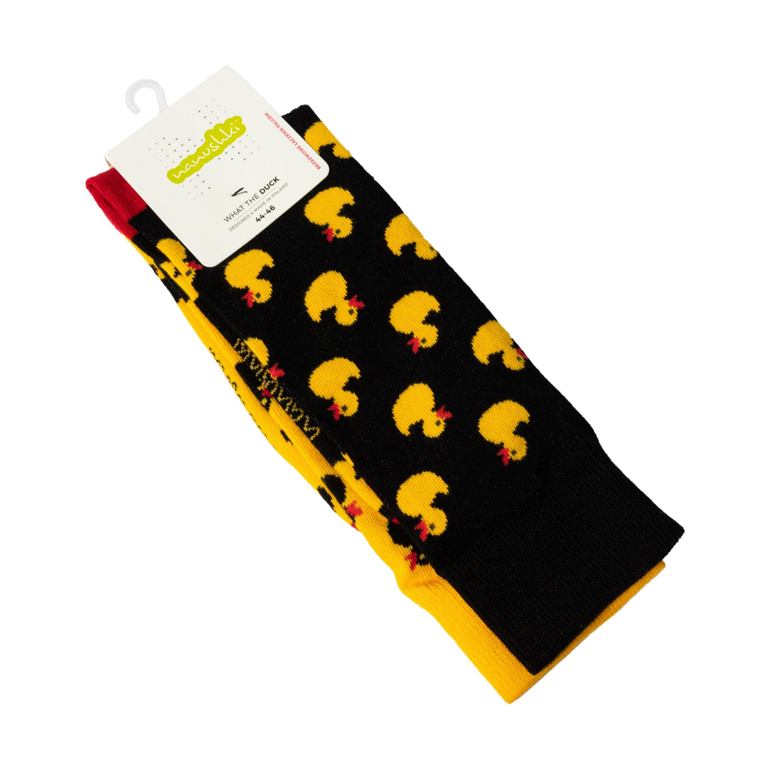 Duck You Yellow and black socks folded