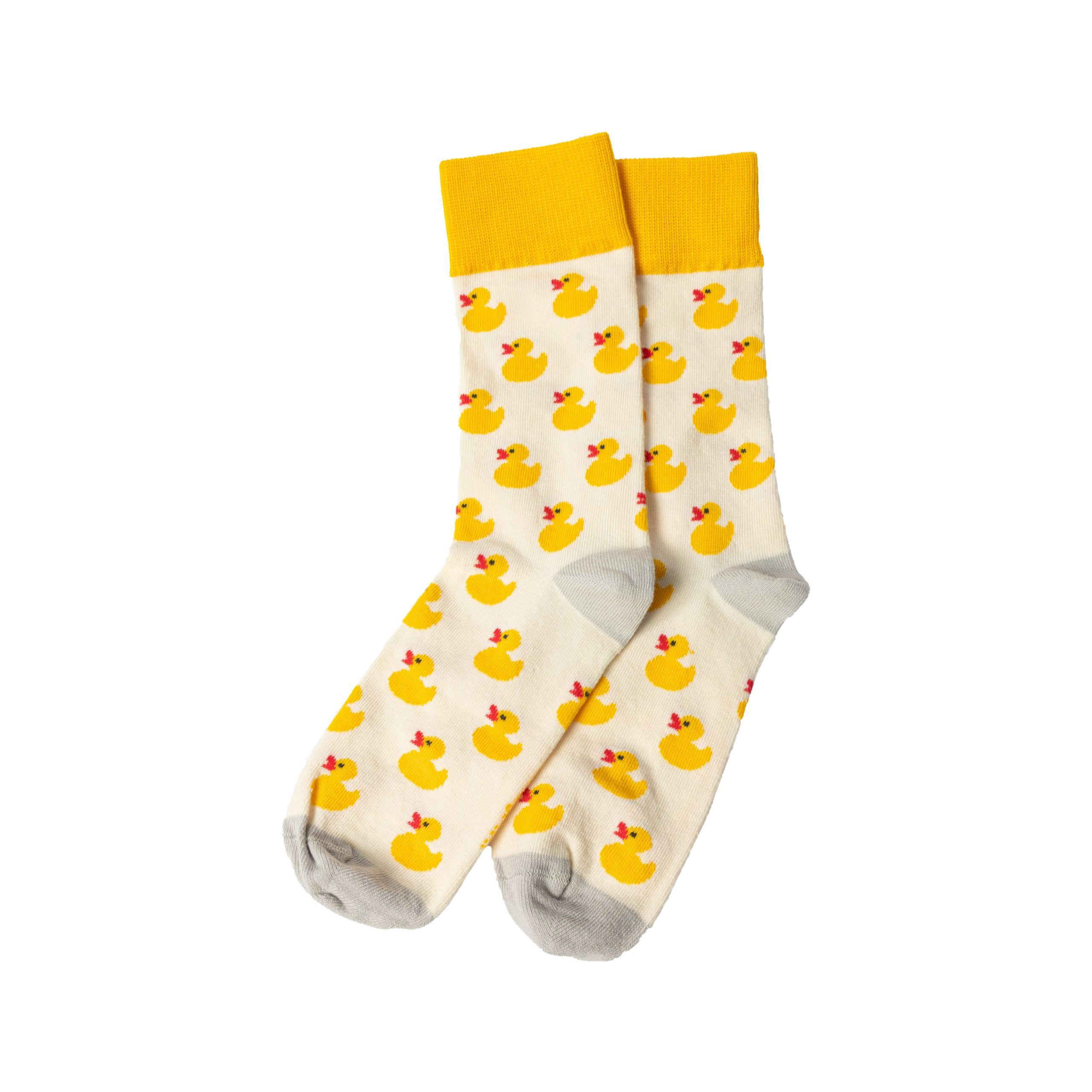 Duck You Yellow and cream socks